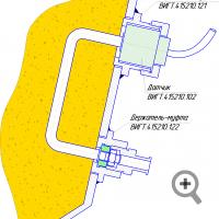 Вариант установки зонда влагомера FIZEPR-SW100.10.6  (FIZEPR-SW100.10.2) на стенке трубы или резервуара